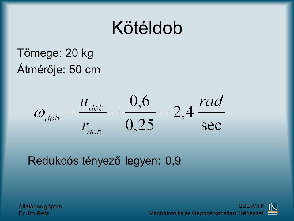 Kötéldob Tömege: 20 kg Átmérője: 50 cm Redukcós tényező legyen: 0,9