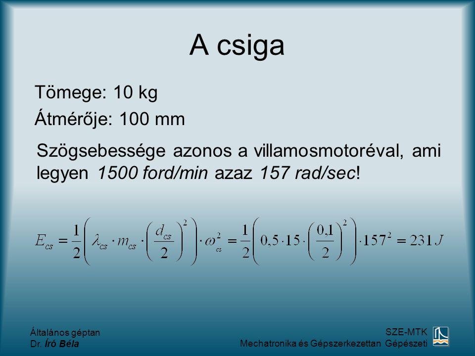 A csiga Tömege: 10 kg Átmérője: 100 mm