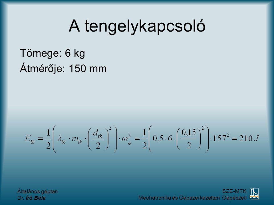 A tengelykapcsoló Tömege: 6 kg Átmérője: 150 mm