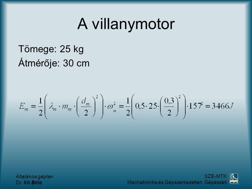 A villanymotor Tömege: 25 kg Átmérője: 30 cm