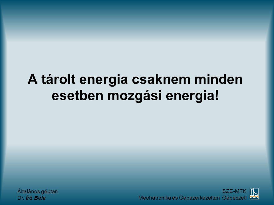 A tárolt energia csaknem minden esetben mozgási energia!