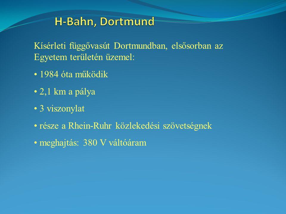 H-Bahn, Dortmund Kísérleti függővasút Dortmundban, elsősorban az Egyetem területén üzemel: 1984 óta működik.
