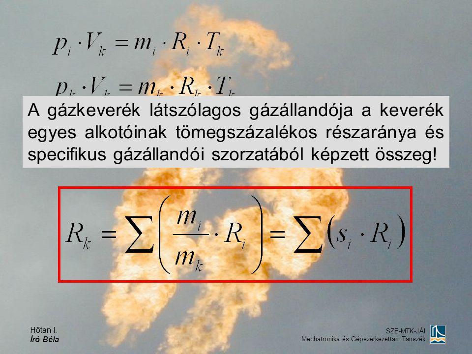 A gázkeverék látszólagos gázállandója a keverék egyes alkotóinak tömegszázalékos részaránya és specifikus gázállandói szorzatából képzett összeg!