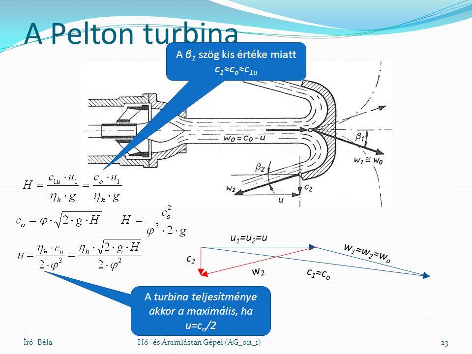 A Pelton turbina A β1 szög kis értéke miatt c1≈co≈c1u u1=u2=u w1≈w2≈wo