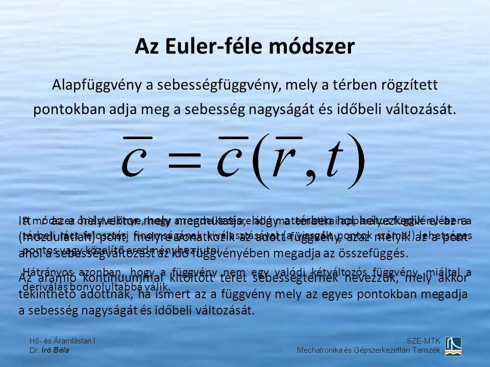 Az Euler-féle módszer Alapfüggvény a sebességfüggvény, mely a térben rögzített pontokban adja meg a sebesség nagyságát és időbeli változását.