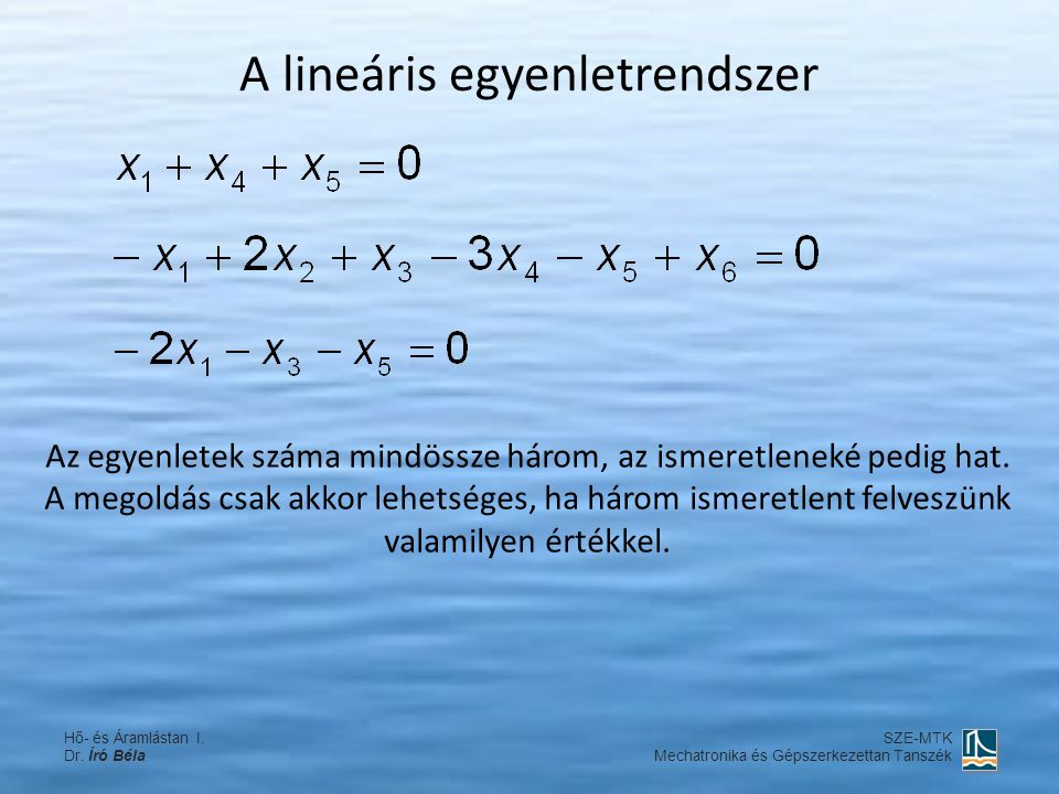 A lineáris egyenletrendszer