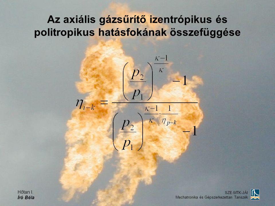 Az axiális gázsűrítő izentrópikus és politropikus hatásfokának összefüggése