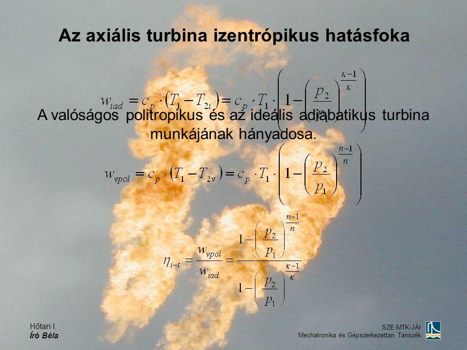 Az axiális turbina izentrópikus hatásfoka
