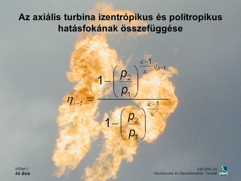 Az axiális turbina izentrópikus és politropikus hatásfokának összefüggése