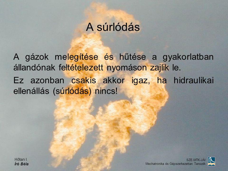 A súrlódás A gázok melegítése és hűtése a gyakorlatban állandónak feltételezett nyomáson zajlik le.