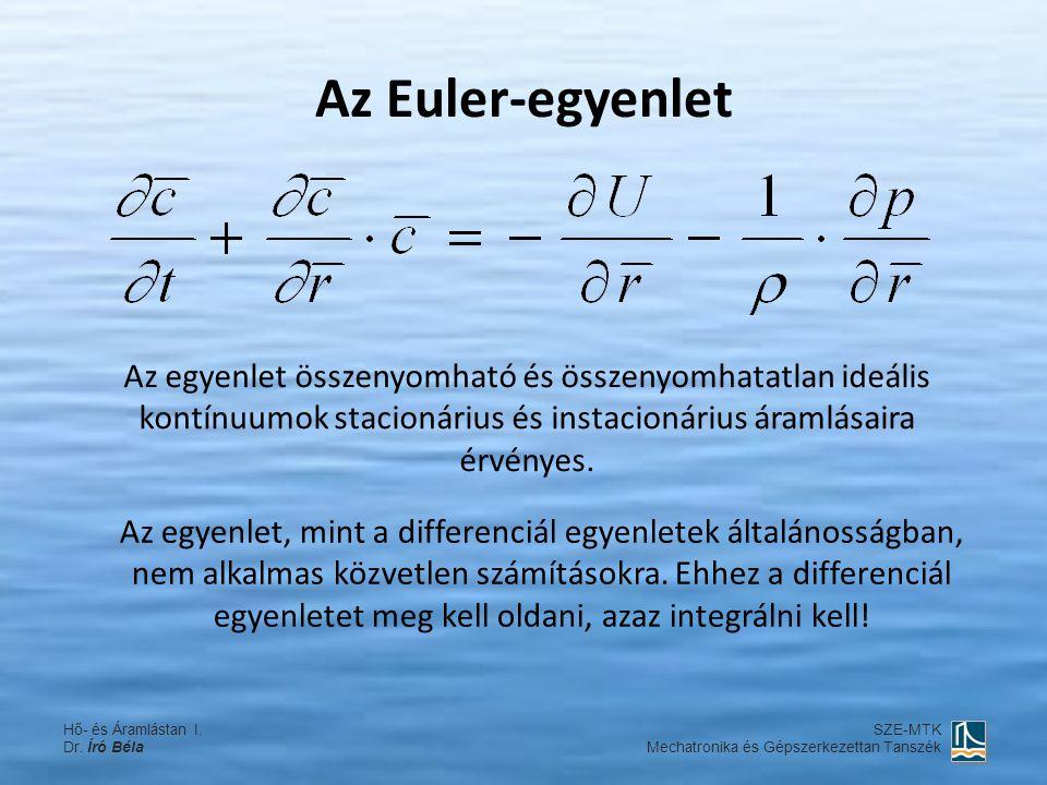 Az Euler-egyenlet Az egyenlet összenyomható és összenyomhatatlan ideális kontínuumok stacionárius és instacionárius áramlásaira érvényes.