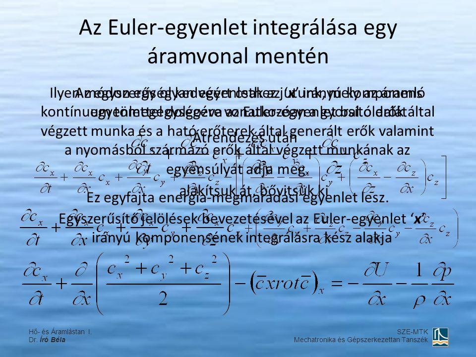Az Euler-egyenlet integrálása egy áramvonal mentén