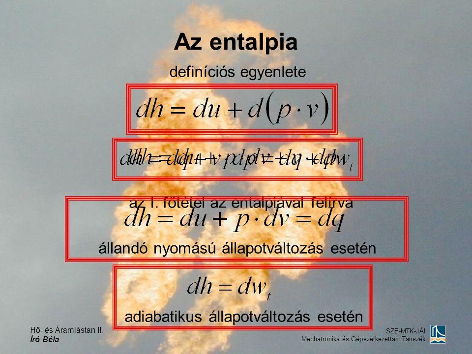 Az entalpia definíciós egyenlete az I. főtétel az entalpiával felírva