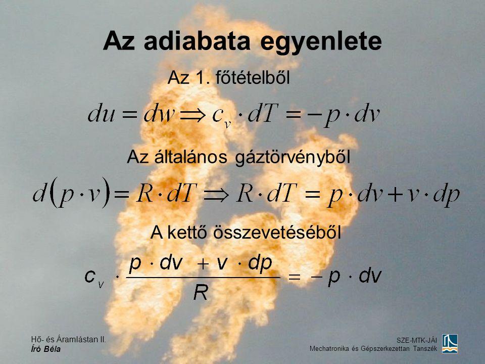 Az adiabata egyenlete Az 1. főtételből Az általános gáztörvényből