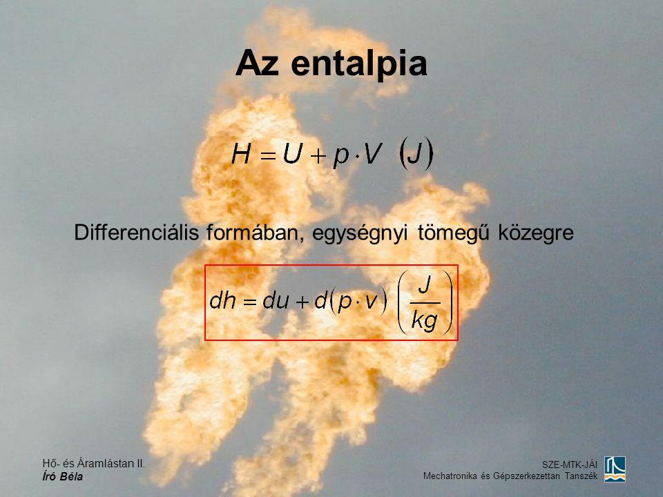 Az entalpia Differenciális formában, egységnyi tömegű közegre