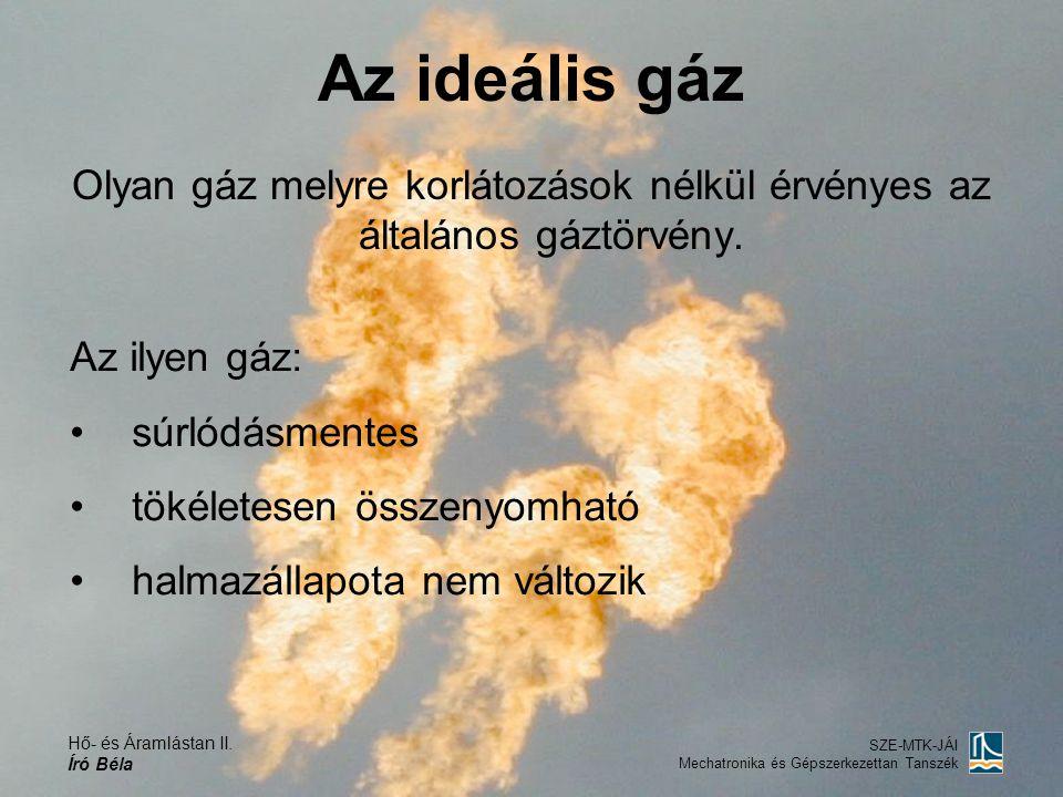 Olyan gáz melyre korlátozások nélkül érvényes az általános gáztörvény.