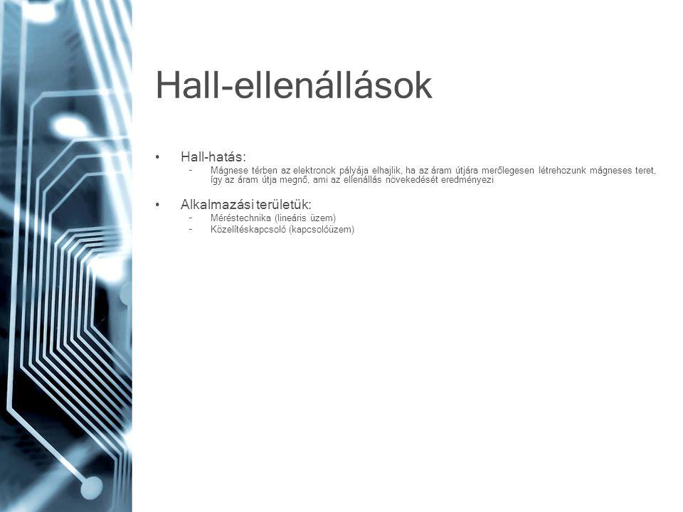 Hall-ellenállások Hall-hatás: Alkalmazási területük: