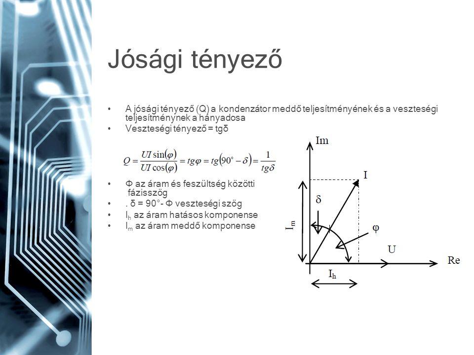 Jósági tényező A jósági tényező (Q) a kondenzátor meddő teljesítményének és a veszteségi teljesítménynek a hányadosa.