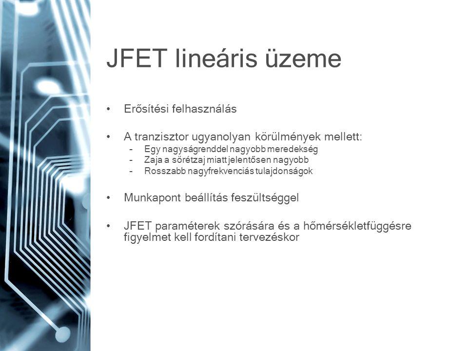 JFET lineáris üzeme Erősítési felhasználás