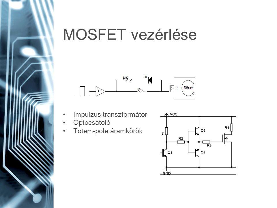 MOSFET vezérlése Impulzus transzformátor Optocsatoló