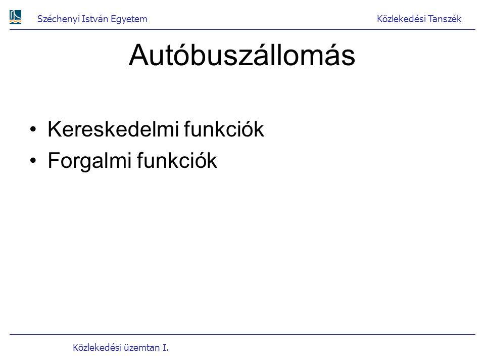 Autóbuszállomás Kereskedelmi funkciók Forgalmi funkciók