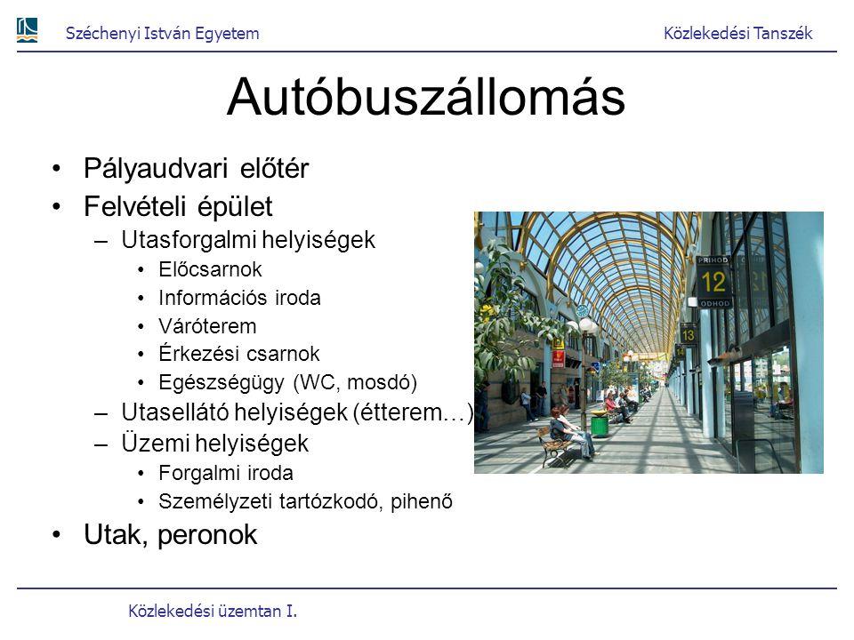 Autóbuszállomás Pályaudvari előtér Felvételi épület Utak, peronok