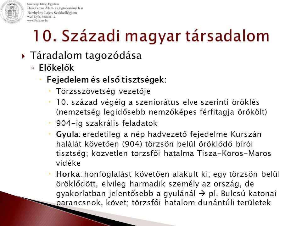 10. Századi magyar társadalom