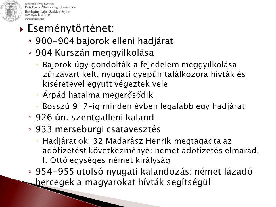 Eseménytörténet: 900-904 bajorok elleni hadjárat