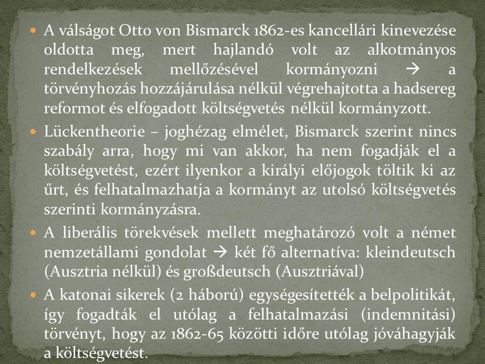 A válságot Otto von Bismarck 1862-es kancellári kinevezése oldotta meg, mert hajlandó volt az alkotmányos rendelkezések mellőzésével kormányozni  a törvényhozás hozzájárulása nélkül végrehajtotta a hadsereg reformot és elfogadott költségvetés nélkül kormányzott.
