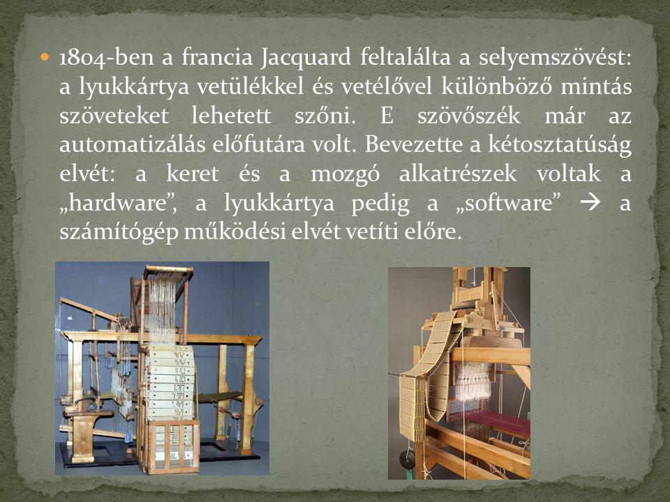 1804-ben a francia Jacquard feltalálta a selyemszövést: a lyukkártya vetülékkel és vetélővel különböző mintás szöveteket lehetett szőni.