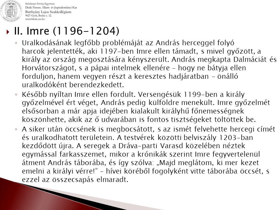 II. Imre (1196-1204)