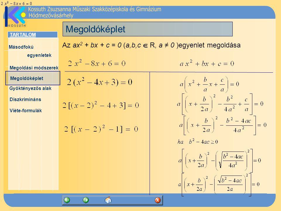 Megoldóképlet Az ax2 + bx + c = 0 (a,b,c  R, a ≠ 0 )egyenlet megoldása