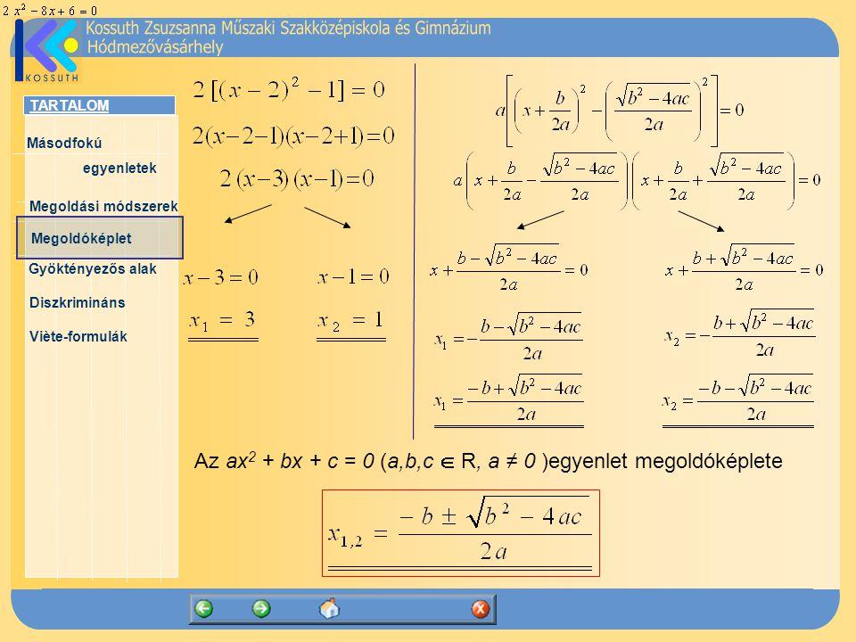 Az ax2 + bx + c = 0 (a,b,c  R, a ≠ 0 )egyenlet megoldóképlete