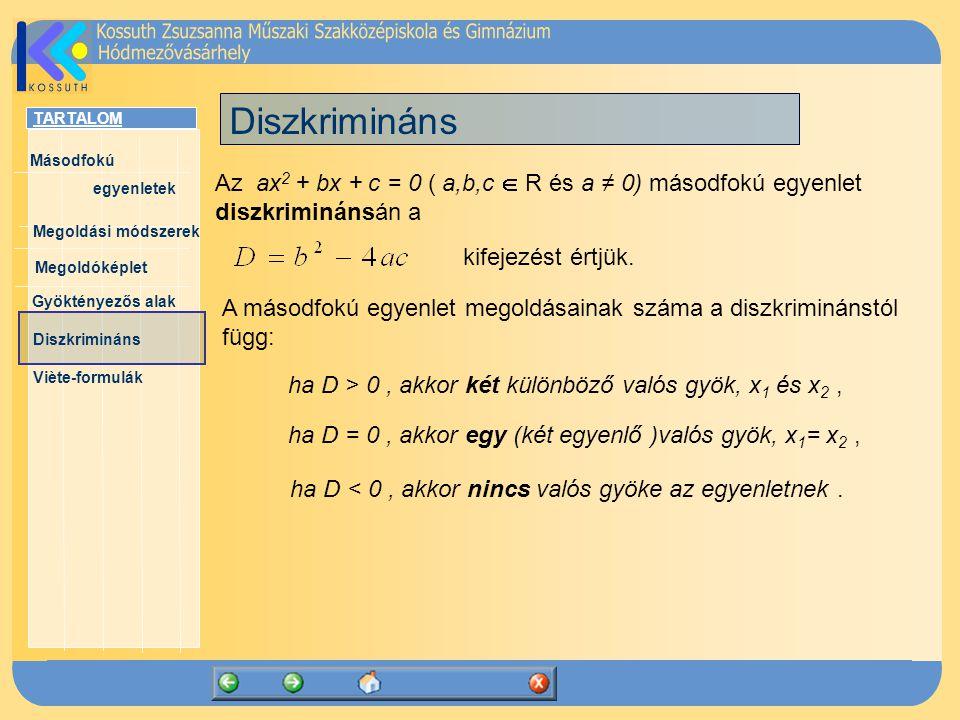 Diszkrimináns Az ax2 + bx + c = 0 ( a,b,c  R és a ≠ 0) másodfokú egyenlet diszkriminánsán a. kifejezést értjük.