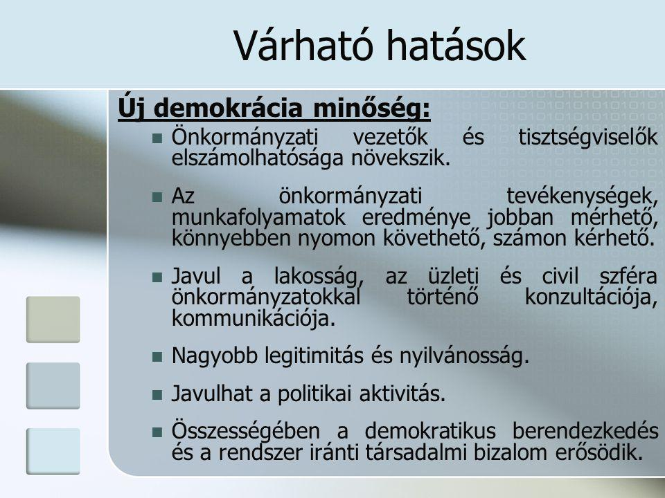 Várható hatások Új demokrácia minőség: