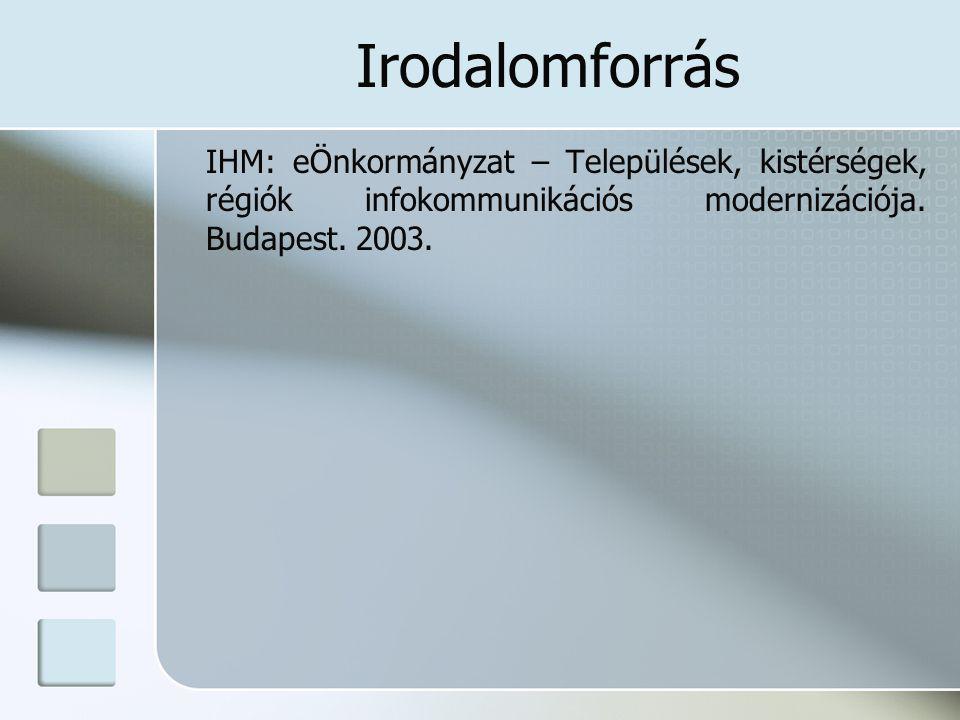 Irodalomforrás IHM: eÖnkormányzat – Települések, kistérségek, régiók infokommunikációs modernizációja.