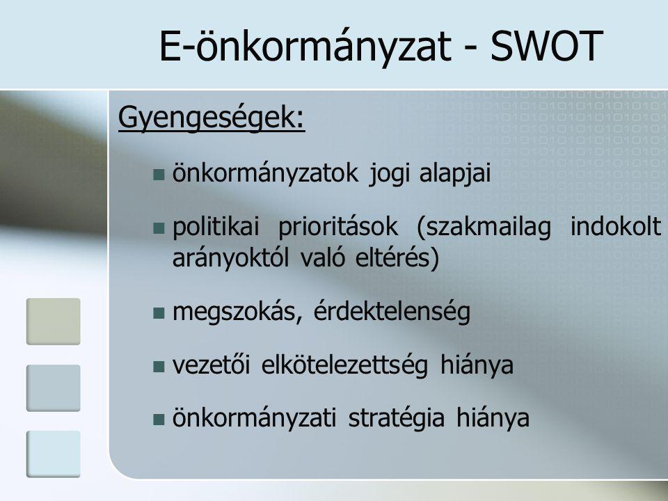 E-önkormányzat - SWOT Gyengeségek: önkormányzatok jogi alapjai