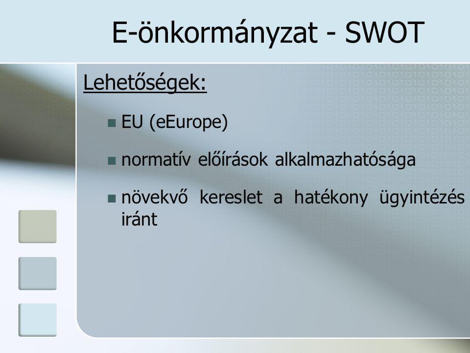 E-önkormányzat - SWOT Lehetőségek: EU (eEurope)
