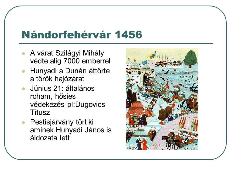 Nándorfehérvár 1456 A várat Szilágyi Mihály védte alig 7000 emberrel