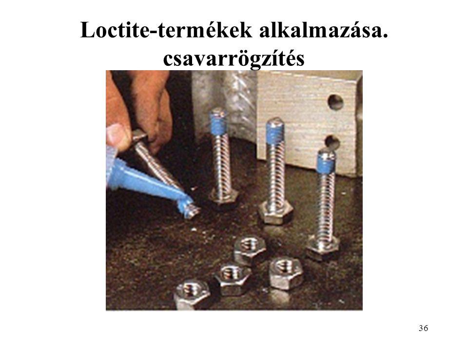 Loctite-termékek alkalmazása. csavarrögzítés
