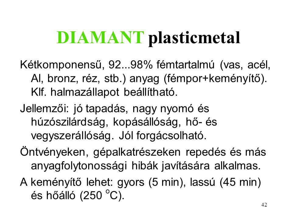 DIAMANT plasticmetal Kétkomponensű, 92...98% fémtartalmú (vas, acél, Al, bronz, réz, stb.) anyag (fémpor+keményítő). Klf. halmazállapot beállítható.