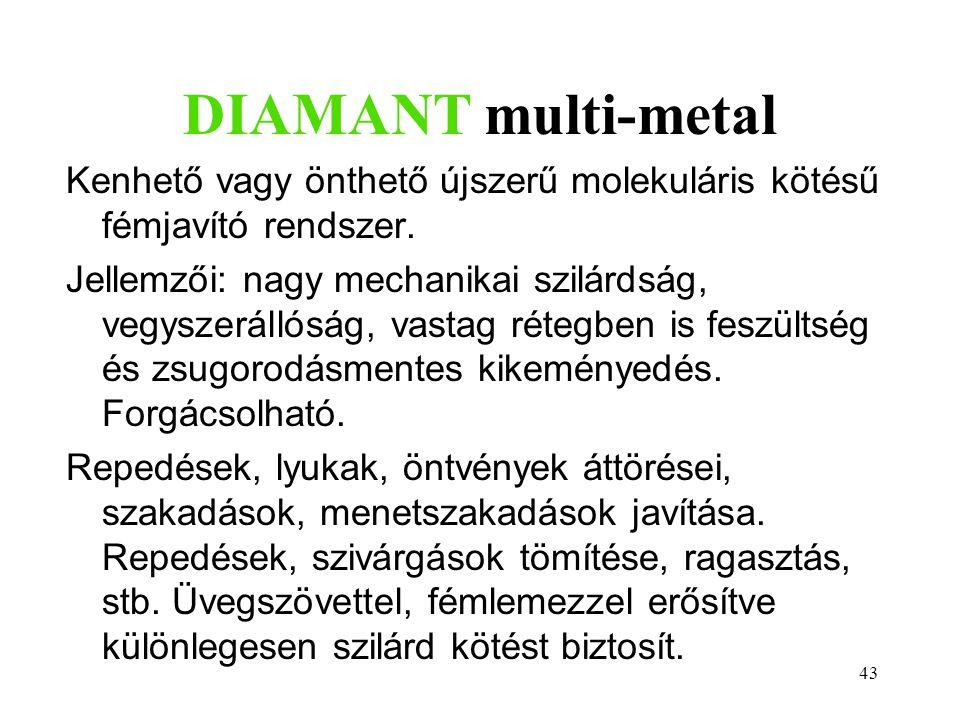 DIAMANT multi-metal Kenhető vagy önthető újszerű molekuláris kötésű fémjavító rendszer.