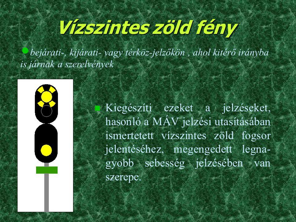 Vízszintes zöld fény bejárati-, kijárati- vagy térköz-jelzőkön , ahol kitérő irányba is járnak a szerelvények.