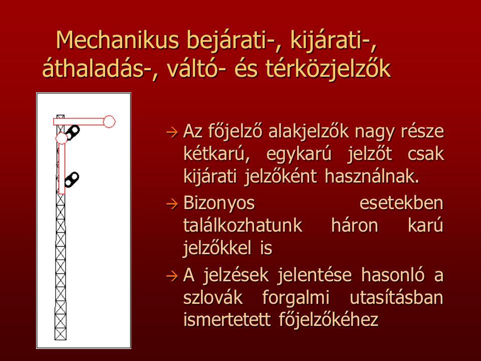 Mechanikus bejárati-, kijárati-, áthaladás-, váltó- és térközjelzők