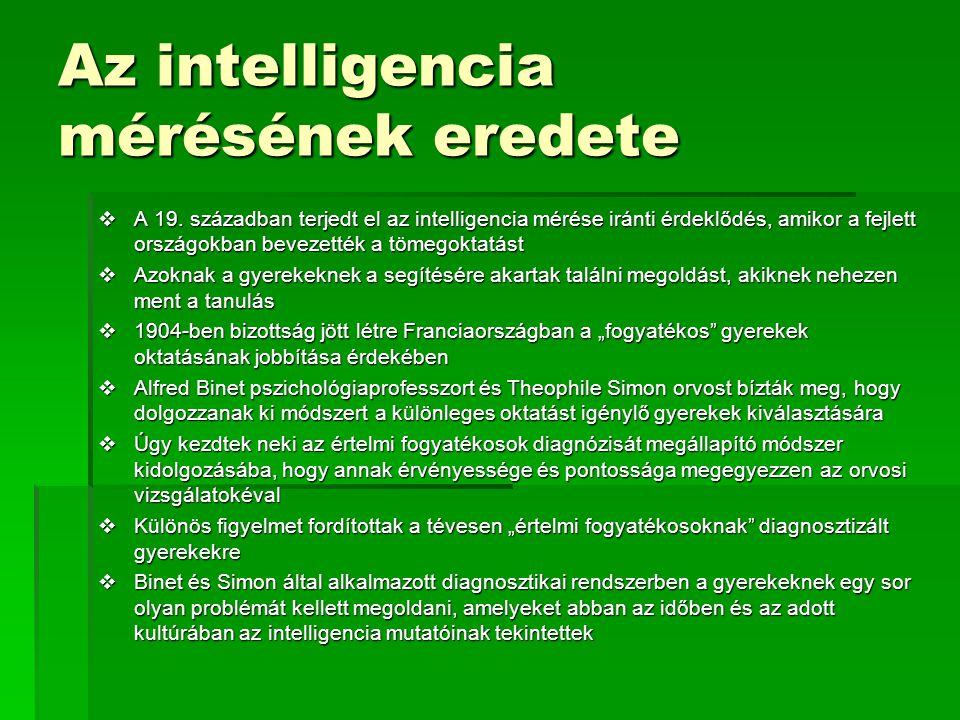 Az intelligencia mérésének eredete
