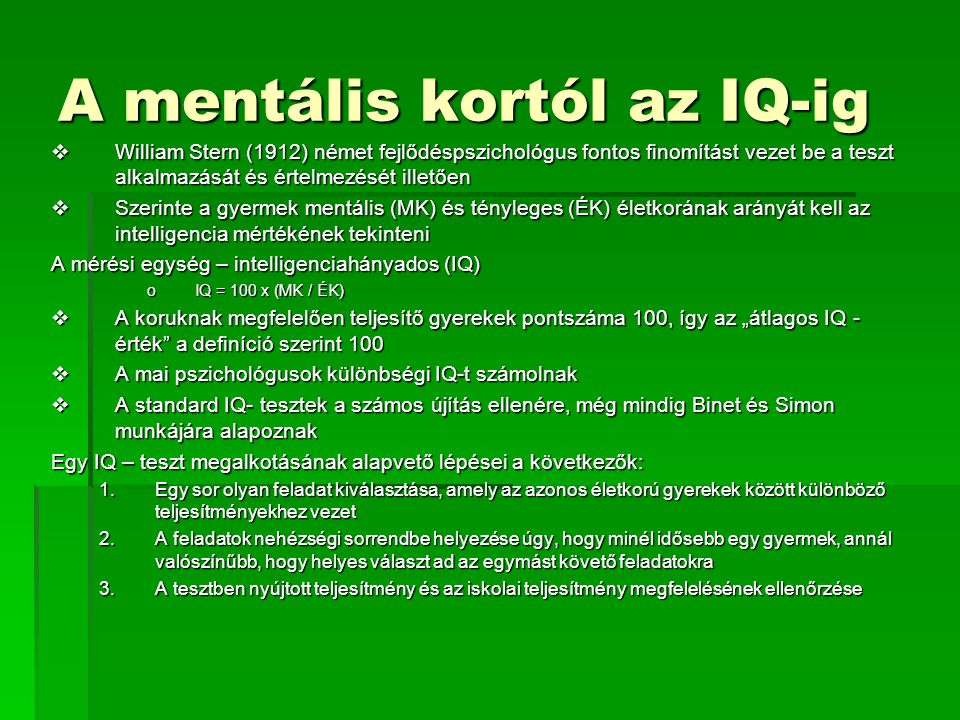 A mentális kortól az IQ-ig