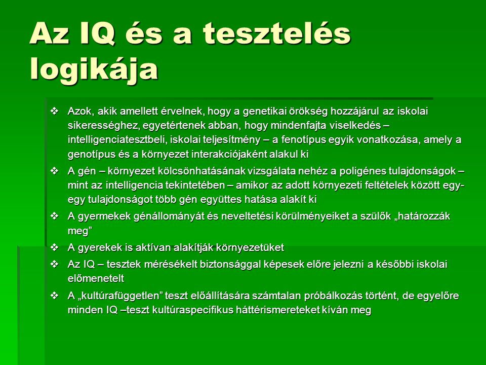 Az IQ és a tesztelés logikája