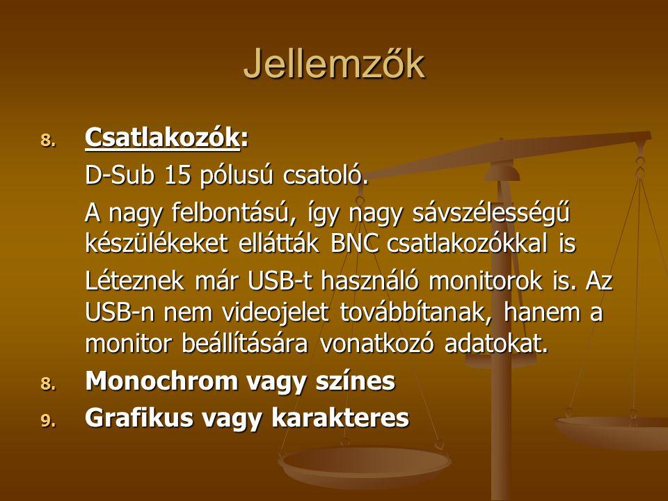 Jellemzők Csatlakozók: D-Sub 15 pólusú csatoló.