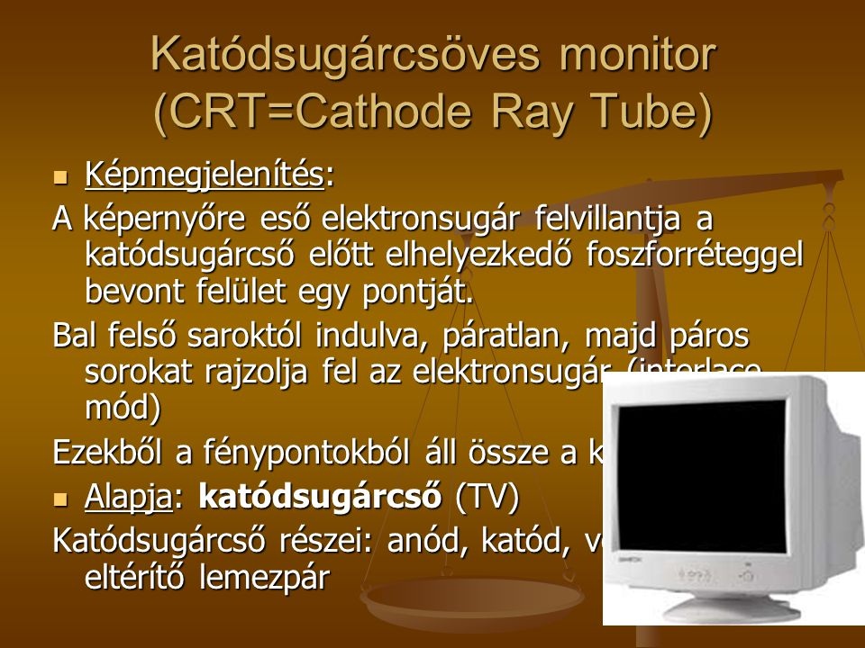 Katódsugárcsöves monitor (CRT=Cathode Ray Tube)