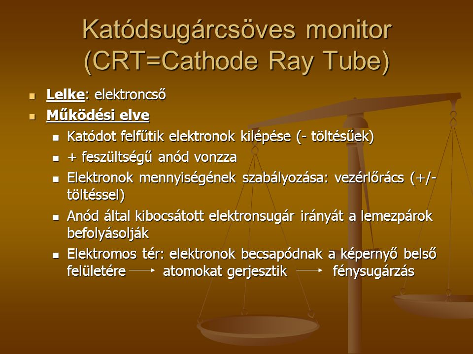 Katódsugárcsöves monitor (CRT=Cathode Ray Tube)